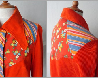 70s Vintage Corderoy Lady Shirt // Big Collar // Orange With Flowers And Stripes