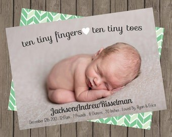 Birth Announcement | Ten Tiny Fingers | Ten Tiny Toes (5x7)