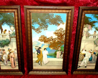 """1913- Maxfield Parrish Triptych- """"Garden of Opportunity"""" """"Loves Pilgrimage"""" """"Call to Joy"""""""