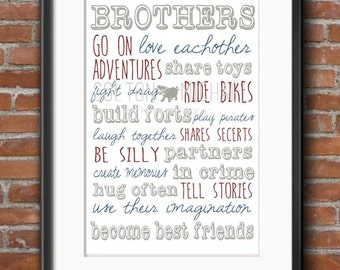 Brothers- Sign- PRINTABLE JPEG FORMAT- Customizable