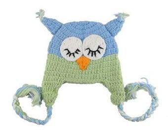 Blue Green Sleeping Owl Crochet Kids Hat