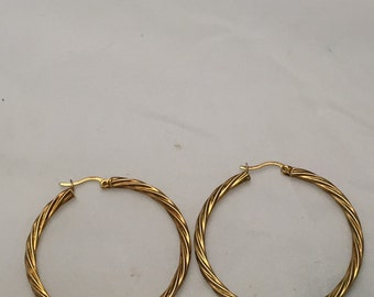 14K Yellow Gold Sterling Silver Hoop Earrings Rope Style Design Real Fine 925 Jewelry + FREE Second Pair