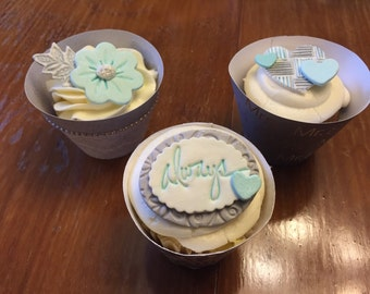 Always Hearts and Flowers Cupcake Toppers