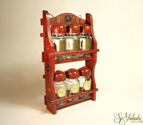 Woodworking Plans For Kitchen Spice Rack: Retro Wooden Spice Rack Deco Painted 2 Tier Herb Rack 6