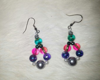 bubble gum dangle earrings