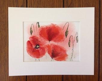 Poppies study. Original Soft Pastel drawing.