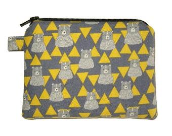 Grey Bear Zipper Pouch - Small Padded Coin Purse - Animal Purse - Bear Purse - Triangle Purse