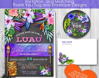 Tropical Luau Invitation, plus Matching  Thank You Tag, Envelopes, Banner and Welcome Sign