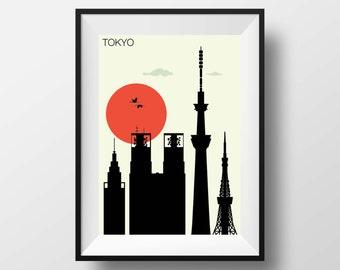 Tokyo print, Tokyo  art, Tokyo artwork, Tokyo poster, Tokyo illustration, Tokyo wall art, Tokyo Skyline, Tokyo Japan, Tokyo cityscape, gift