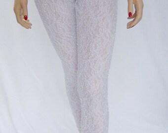White lace leggings, cropped leggings, capris,  stretch pants, yoga pants, stretch leggings, painted leggings, women, beach, sports