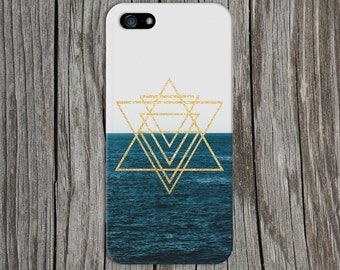 Gold Glitter Geometric Triangles x Ocean Horizon Phone Case for iPhone 6 6 Plus iPhone 7  Samsung Galaxy  & s7 and Note  S8 Plus Phone Case