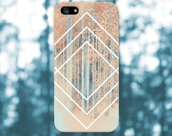 White Geometric Shapes x Deep Fall Forest Phone Case for iPhone 6 6 Plus iPhone 7  Samsung Galaxy s8 edge s6 and Note 5  S8 Plus Phone Case