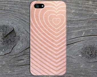 Rose Gold Pink Wood Heart Phone Case,  iPhone 7, iPhone 7 Plus, Protective iPhone Case, Galaxy s8, Samsung Galaxy Case Note 5, CASE ESCAPE