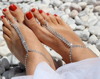 Beach wedding shoes etsy silver rhinestones barefoot sandals foot jewelry sexy summer beachwear accessory bridal accessories beach junglespirit Images