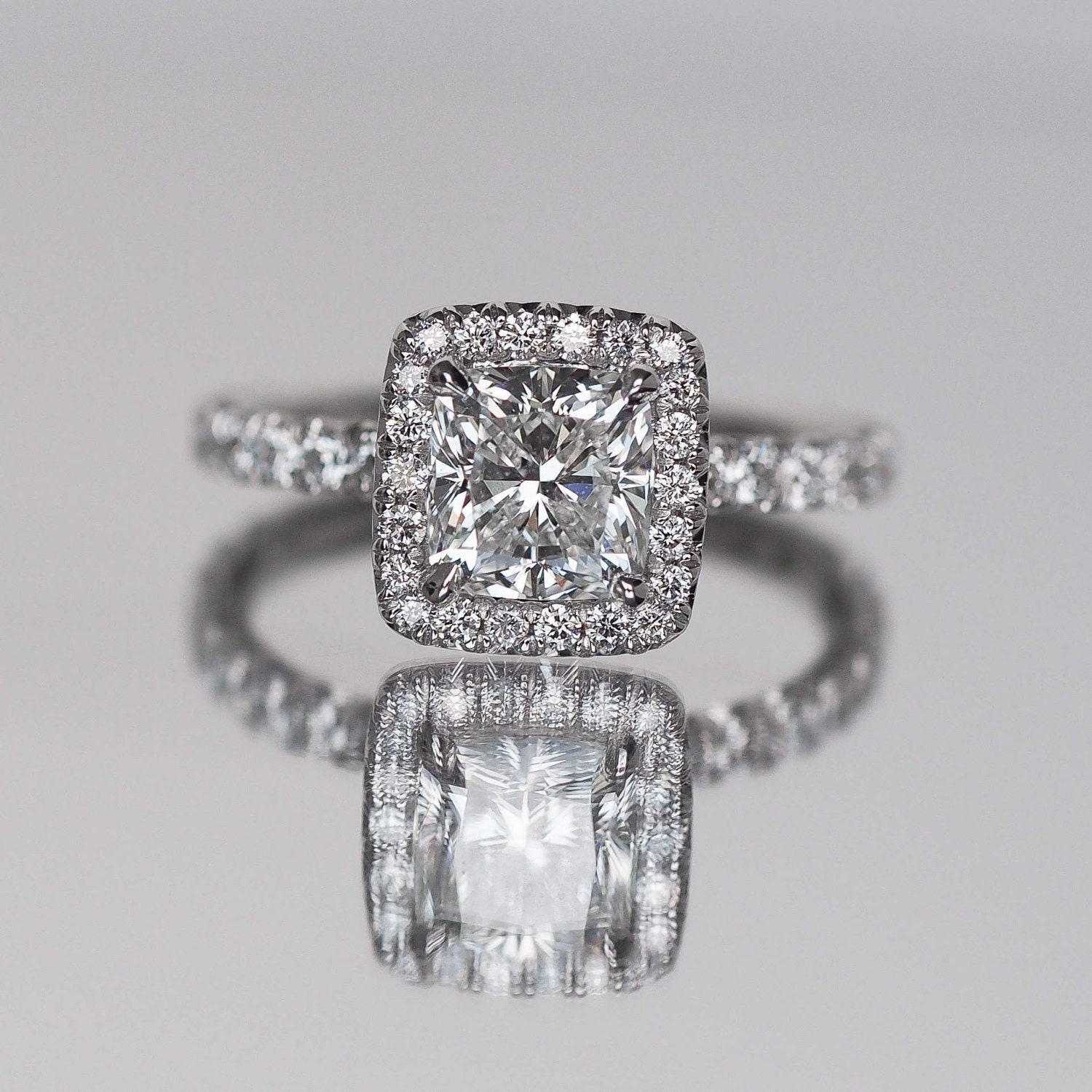 Cushion Cut Engagement Ring with Diamonds on Halo Facing Up