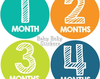 Baby Month Stickers, Monthly Baby Stickers, Bodysuit Stickers, Monthly Milestone Stickers, Baby Monthly Stickers, Baby Shower Gift, Boys
