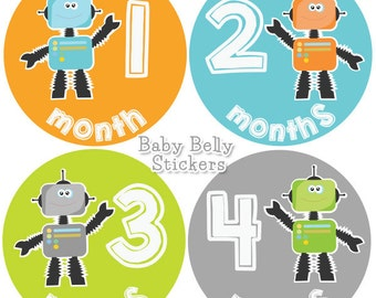 Baby Month Stickers, Monthly Baby Stickers, Bodysuit Stickers, Monthly Milestone Stickers, Baby Monthly Stickers, Baby Belly Stickers, Robot