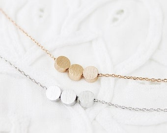 Tiny 3 Dot Necklace Silver / Gold / Rose gold Circle Necklace Bridesmaid Gift Bridesmaid Necklace Birthday Gift
