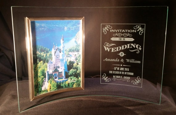 Wedding Invitation Frames: Wedding Invitation Frame 5x7 Curved Glass Frame Personalized