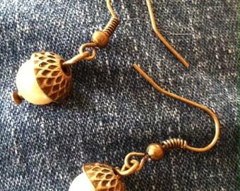 Pearl Acorn Drop Earring