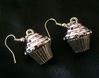 Adorable Bejeweled Cup Cake Earrings In Silver Metal, Pink, Blue, Purple, and Yellow