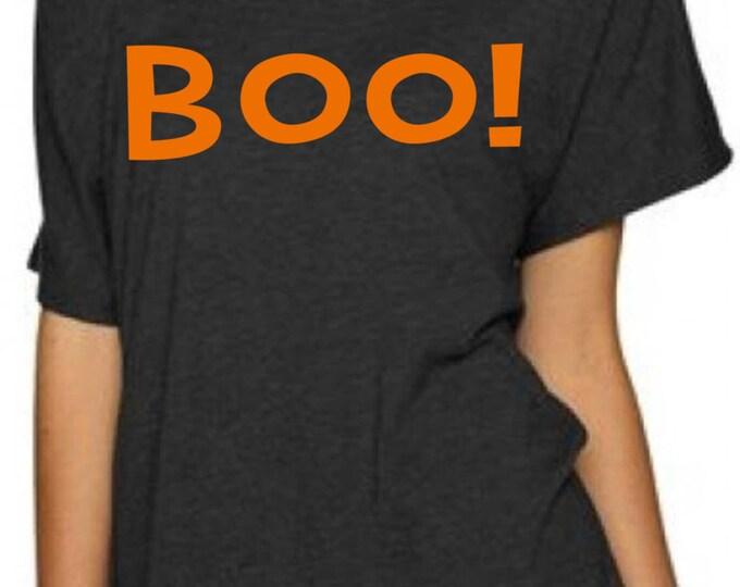 haloween t-shirt. Boo! halloween off the shoulder shirt. Ladies Halloween slouchy sweatshirt, t shirt, tank top, black, orange.