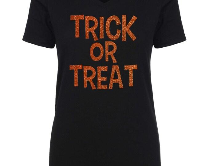 Trick Or Treat Shirt . Halloween T-shirt , black, purple, orange , glitter - ladies -tee shirts. small, medium, large, XL, XXL, XXXL, 3X, 2x