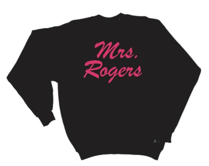 Bride Sweater. MRS last name custom slouchy oversized sweatshirt- women's oversized sweatshirt- Bride Sweatshirt- script pink writing.