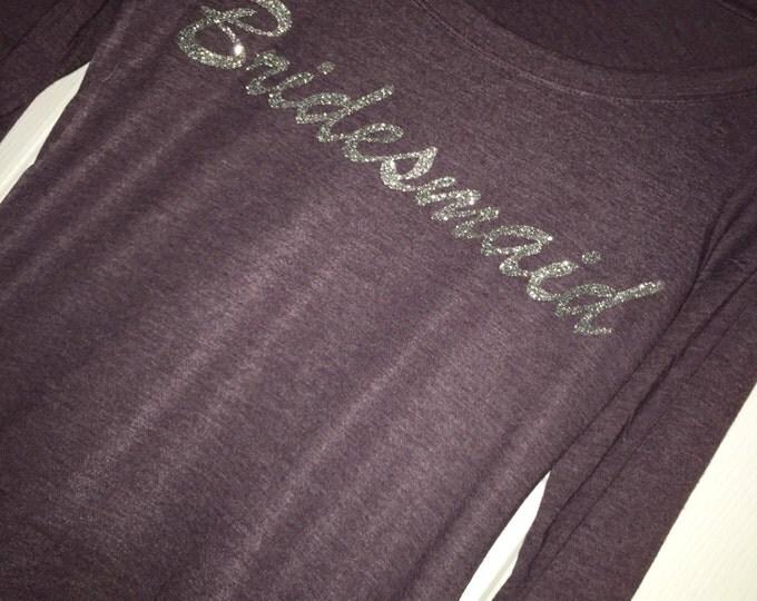 Bridesmaid t-shirt . Bridesmaid Silver Glitter Shirts . Bridesmaid flowy oversized long sleeve shirts . small, Medium, large, xl, xxl