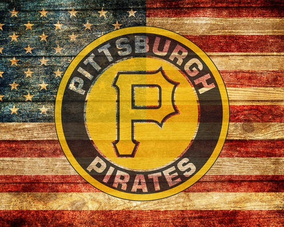 Pittsburgh Pirates Poster Baseball Decor Us Flag Man