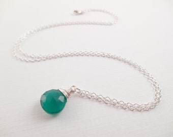 Green Chalcedony Necklace - Kelly Green Chalcedony Wire Wrapped Briolette Sterling Silver Necklace