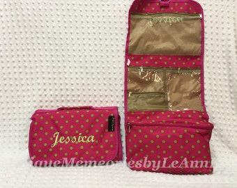 Polka dot Hanging Makeup/Toiletry/Jewelry Bag with FREE name or monogram 5 color options - Great for Brides, Bridesmaids, Grads, Birthdays