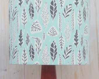 Grey leaves on Pale Eucalyptus Blue- fabric covered lampshade