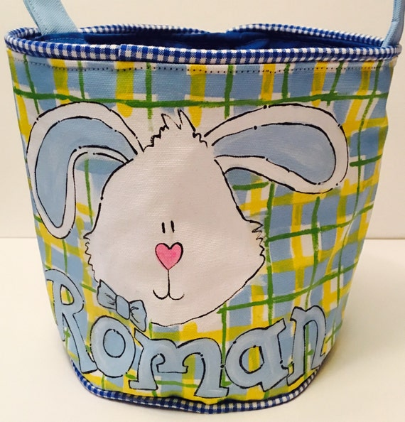 Personalized Easter Basket Hand Painted Lime And Green