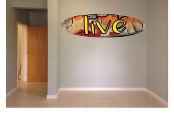 Wall hanging surfboard live graffiti surf board