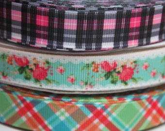 5/8 Inch Plaid Flower Grosgrain Ribbon by the Yard for Hairbows, Scrapbooking, and More!!