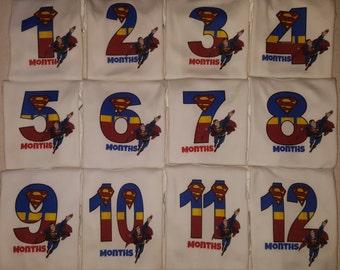 Month By Month Super Hero onesies-Superman Baby-Super Hero onesie-Baby hero onesie-Month to month super hero onesies-Month by Month hero