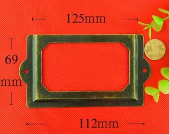 set of 2 large Metal Label Holders, Card Holders, Metal Label Frames with Screws (125MMX69MM)