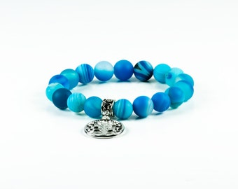 Frozen Blue Agate Gemstone Stretch Bracelet|Fine Women's Fashion Jewelry Trend | 10mm Stone Bead Bracelet|Tree Of Life
