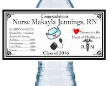 100 NURSE GRADUATION WATER Bottle Labels ~ Glossy ~ Waterproof Ink