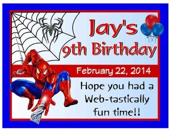 15 Spiderman Birthday Party Favors Personalized photo MAGNETS ~ FREE SHIPPING