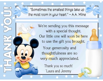20 Baby Mickey Mouse Baby Shower Thank You Cards with envelopes - FREE SHIPPING
