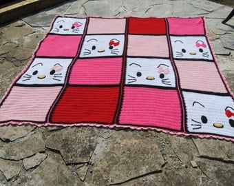 Hello Kitty Blanket Crochet Squares Afghan