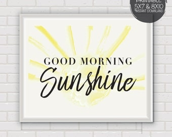 PRINTABLE Good Morning Sunshine Quote, Wall Decor, Wall Art, Kids Room Decor, watercolor sunshine