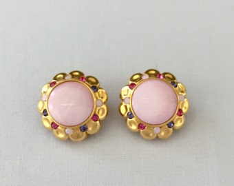 Vintage Joan Rivers Round Flower Clip Earrings,Pink Glass Center,Gold Tone Metal,Pink and Periwinkle Rhinestones-Wedding,Mother of the Bride