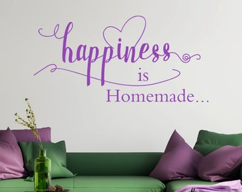 Happiness is homemade wall art sticker decal, living room, kitchen, bedroom, hallway, playroom design, decorating, decorative wall design