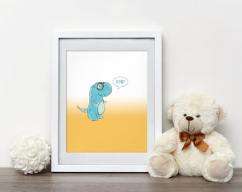 Nerdy Dinosaur Print Dinosaur Nursery Decor, Nursery Print, Nursery Wall art, Dinosaur print, Nursery dinosaur art, Dinosaur with Glasses