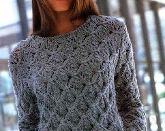 original pull over femme arbre de vie tricot fait main