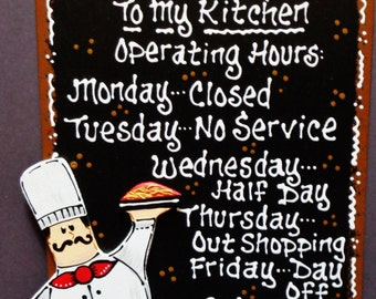 FAT CHEF OVERLAY Kitchen Hours Sign Plaque Country Wood Wall Bistro Cucina Decor