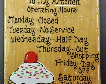 CUPCAKE OVERLAY Kitchen Operating Hours SIGN Plaque Country Wall Decor
